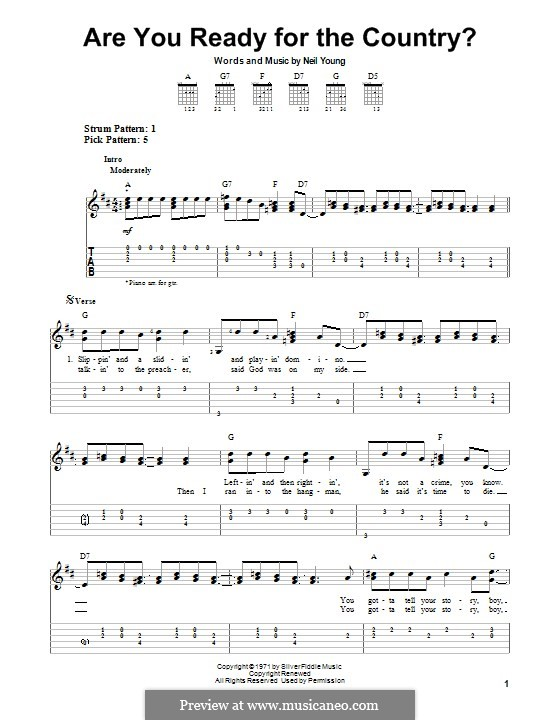 Are You Ready for the Country?: For guitar with tab by Neil Young