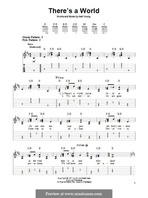There's a World: For guitar with tab by Neil Young