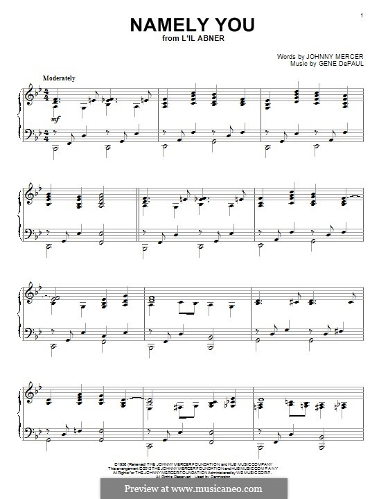 Namely You: For piano by Gene de Paul
