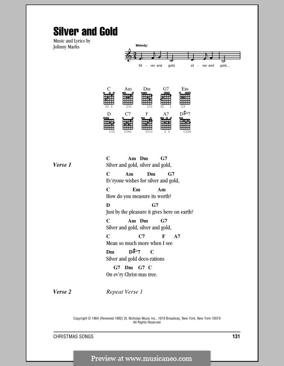 Silver and Gold: Lyrics and chords by Johnny Marks