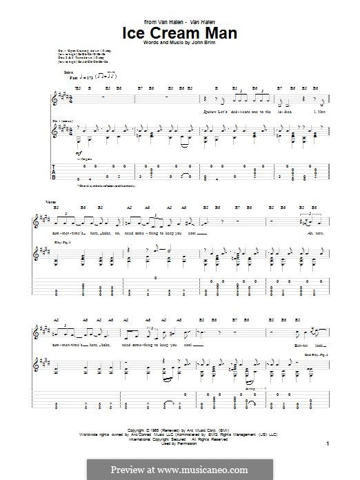 Ice Cream Man (Van Halen): For guitar with tab by John Brim