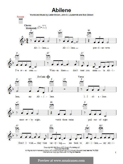 Abilene (George Hamilton IV): For ukulele by John D. Loudermilk, Bob Gibson, Lester Brown