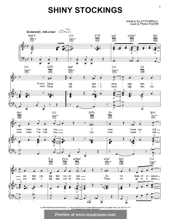 Shiny Stockings: For voice and piano (or guitar) by Frank Foster