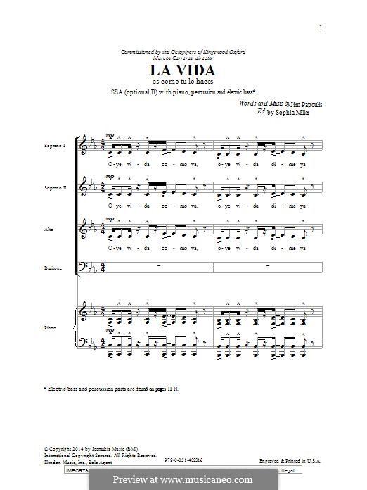 La Vida: For mixed choir by Jim Papoulis