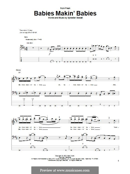 Babies Makin' Babies (Sly & The Family Stone): For bass guitar with tab by Sylvester Stewart