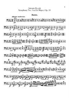 Symphony No.3 in E Flat Major, B.34 Op.10: Cello part by Antonín Dvořák
