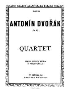 Piano Quartet No.2 in E Flat Major, B.162 Op.87: Full score, Parts by Antonín Dvořák
