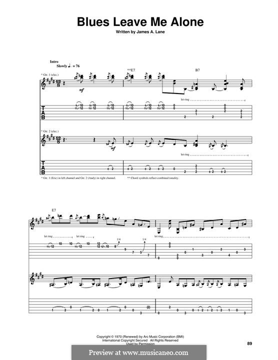 Blues Leave Me Alone: For guitar with tab by Eric Clapton