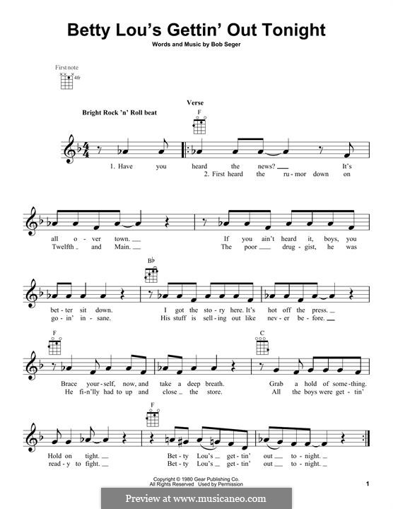 Betty Lous Gettin Out Tonight By B Seger Sheet Music On Musicaneo
