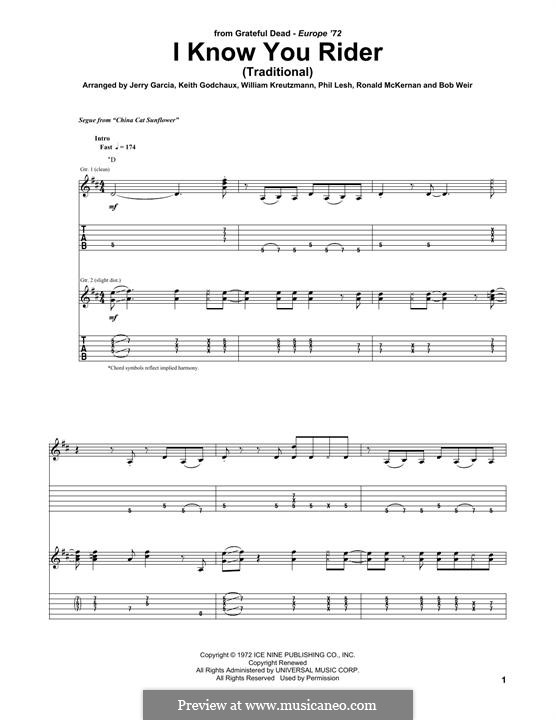 I Know You, Rider: For guitar with tab by folklore