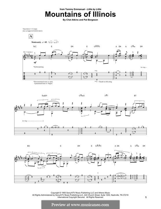 Mountains of Illinois: For guitar with tab by Chet Atkins, Pat Bergeson