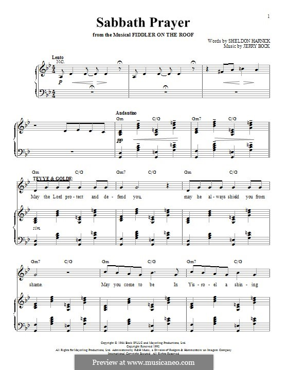 Sabbath Prayer: For voice and piano by Jerry Bock