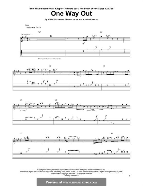 One Way Out (Allman Brothers Band): For guitar with tab by Elmore James, Marshall Sehorn