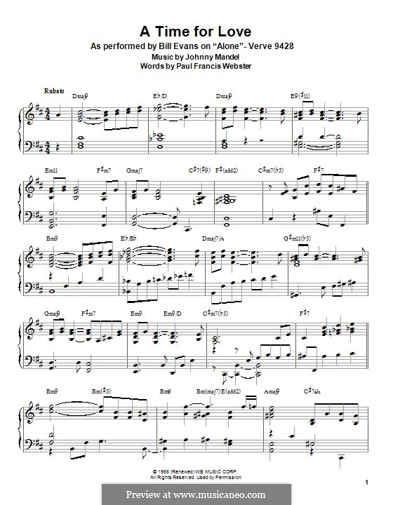 A Time for Love: For piano by Johnny Mandel