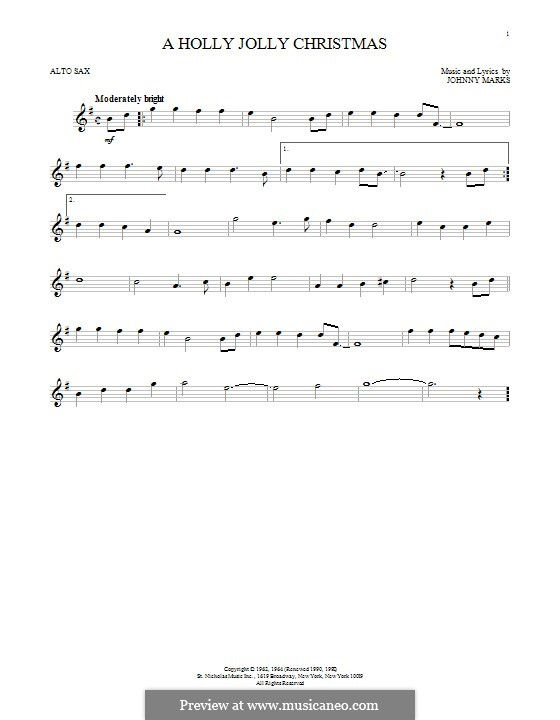 A Holly Jolly Christmas: For alto saxophone by Johnny Marks
