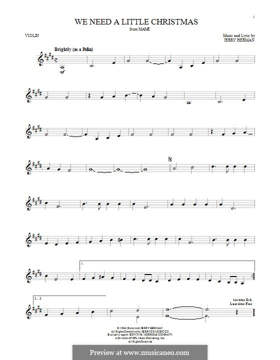 We Need a Little Christmas: For violin by Jerry Herman