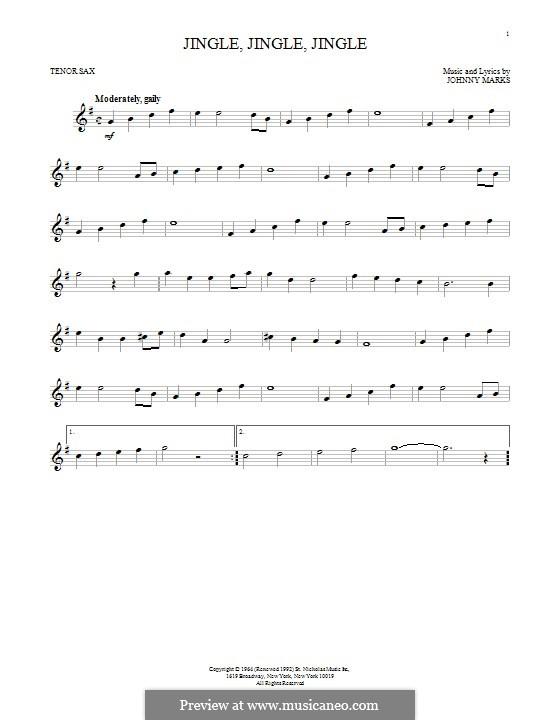 Jingle, Jingle, Jingle: For tenor saxophone by Johnny Marks