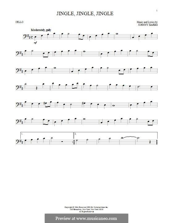 Jingle, Jingle, Jingle: For cello by Johnny Marks