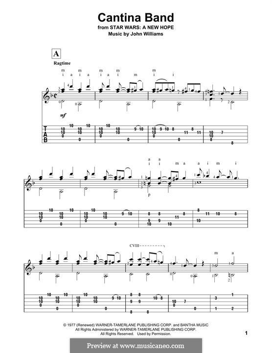 Cantina Band: For guitar with tab by John Williams