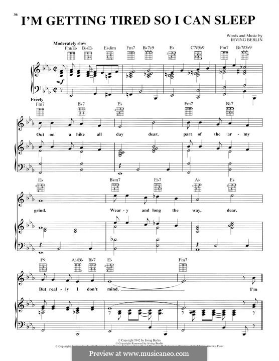 I'm Getting Tired So I Can Sleep: For voice and piano (or guitar) by Irving Berlin