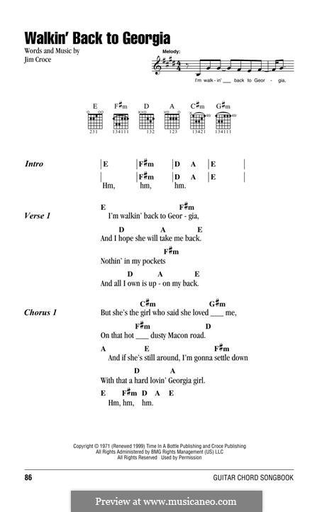 Walkin\' Back To Georgia by J. Croce - sheet music on MusicaNeo
