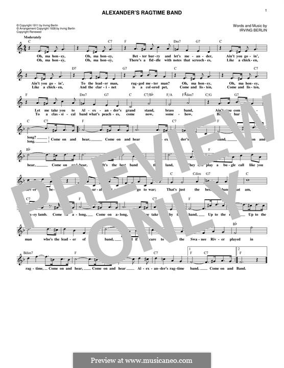 Alexander's Ragtime Band: Melody line by Irving Berlin