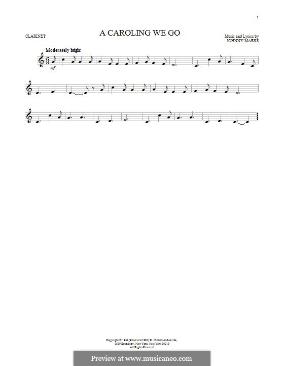 A Caroling We Go: For clarinet by Johnny Marks