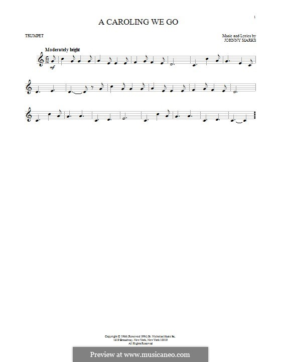 A Caroling We Go: For trumpet by Johnny Marks