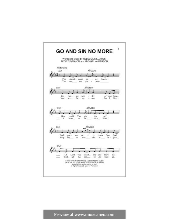 Go and Sin no More: Melody line by Tedd Tjornhom, Michael Anderson