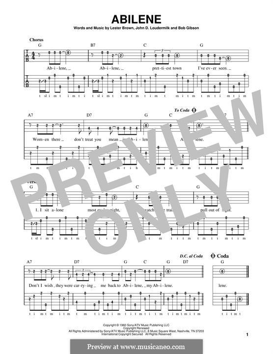 Abilene (George Hamilton IV): For banjo by John D. Loudermilk, Bob Gibson, Lester Brown
