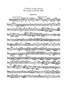 Serenade for Orchestra No.9 in D Major 'Posthorn', K.320: Bassoons parts by Wolfgang Amadeus Mozart