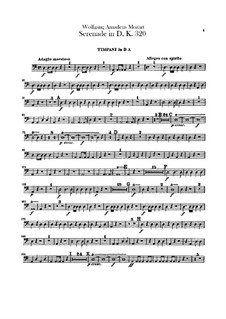 Serenade for Orchestra No.9 in D Major 'Posthorn', K.320: Timpani part by Wolfgang Amadeus Mozart