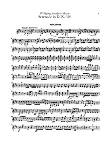 Serenade for Orchestra No.9 in D Major 'Posthorn', K.320: Violins II part by Wolfgang Amadeus Mozart