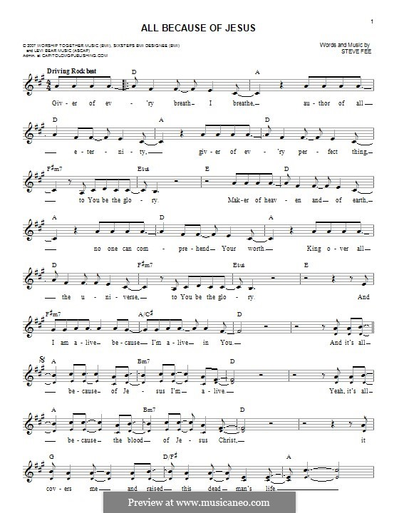 All Because of Jesus (Casting Crowns): Melody line by Steve Fee