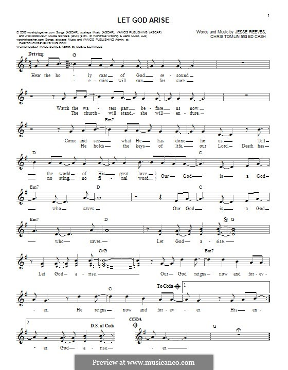 Let God Arise: Melody line by Chris Tomlin, Ed Cash, Jesse Reeves