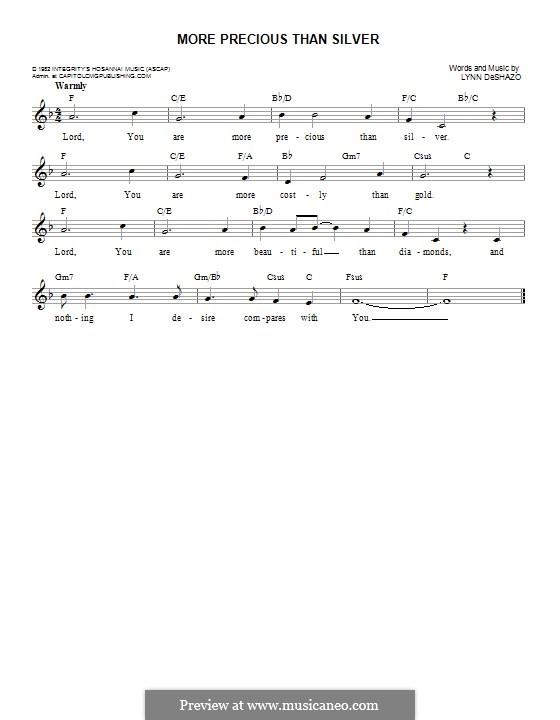More Precious Than Silver: Melody line by Lynn DeShazo