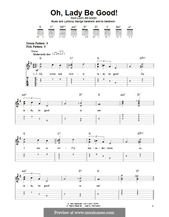 Oh, Lady, Be Good: For guitar with tab by George Gershwin