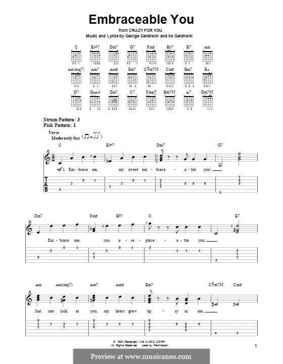 Embraceable You: For guitar with tab by George Gershwin