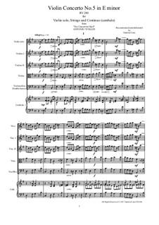 Six Violin Concertos, Op.6: Concerto No.5 in E Minor – score and all parts, RV 280 by Antonio Vivaldi