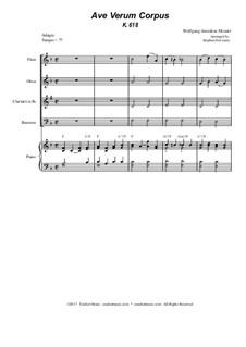 Ave verum corpus, K.618: For woodwind quartet - piano accompaniment by Wolfgang Amadeus Mozart