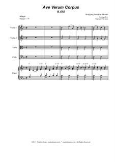 Ave verum corpus, K.618: For string quartet - piano accompaniment by Wolfgang Amadeus Mozart