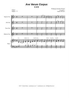 Ave verum corpus, K.618: For saxophone quartet - piano accompaniment by Wolfgang Amadeus Mozart