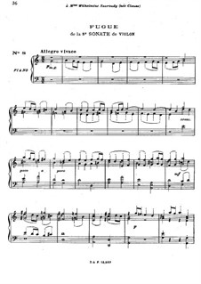 Sonata for Violin No.3 in C Major, BWV 1005: Fugue. Arrangement for piano by Johann Sebastian Bach