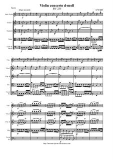 Concerto for Violin and Strings in D Minor, RV 235: Score and parts by Antonio Vivaldi