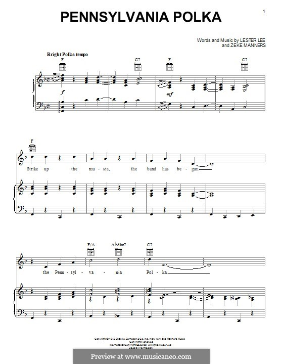 Pennsylvania Polka: For voice and piano (or guitar) by Lester Lee, Zeke Manners