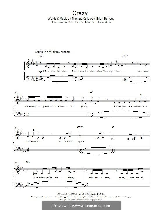Crazy (Gnarls Barkley): For piano by Brian Burton, Gian Piero Reverberi, Gianfranco Reverberi, Thomas Callaway