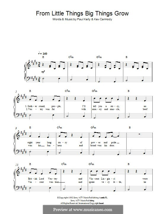 From Little Things Big Things Grow By K Carmody Sheet Music On