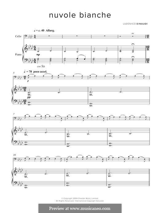 Nuvole Bianche: For cello and piano by Ludovico Einaudi