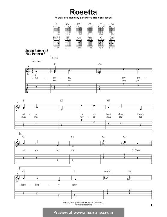 Rosetta: For guitar with tab by Henri Woode, Earl Hines