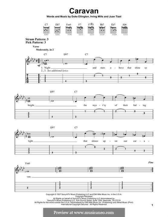 Caravan (Les Paul): For guitar with tab by Irving Mills, Duke Ellington, Juan Tizol